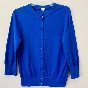 J Crew Clare Cardigan Blue Button Front Size L